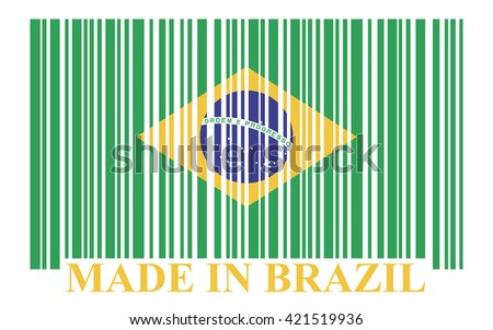Brazil barcode flag - stock photo
