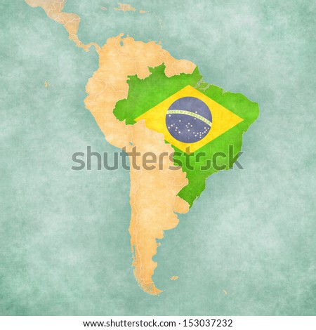 Brazil (Brazilian flag) on the map of South America. The Map is in vintage summer style and sunny mood. The map has a soft grunge and vintage atmosphere, which acts as a watercolor painting.  - stock photo