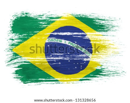 Brazil. Brazilian flag  on white background - stock photo