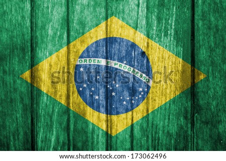 brazil, brazilian flag painted on old wood plank background