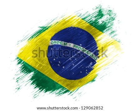 Brazil. Brazilian flag  painted with brush on white background - stock photo