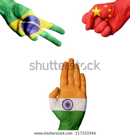 Brazil China India rock-paper-scissors - stock photo