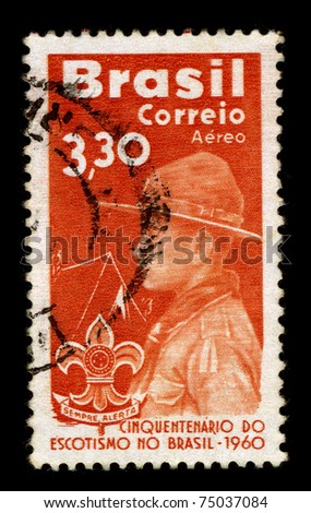BRAZIL - CIRCA 1960:A stamp printed in BRAZIL shows image of the Scout Movement of Brazil, circa 1960. - stock photo