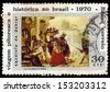 BRAZIL-CIRCA 1970:A stamp printed in BRAZIL shows  slaves, painting by Jean Baptiste Debret (1768-1848), circa 1970 - stock photo