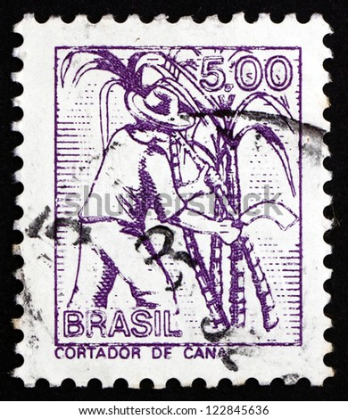 BRAZIL - CIRCA 1977: a stamp printed in the Brazil shows Sugar Cane Cutter, circa 1977