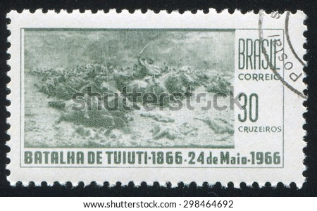 BRAZIL - CIRCA 1966: stamp printed by Brazil, shows  Battle of Tuiuti, circa 1966