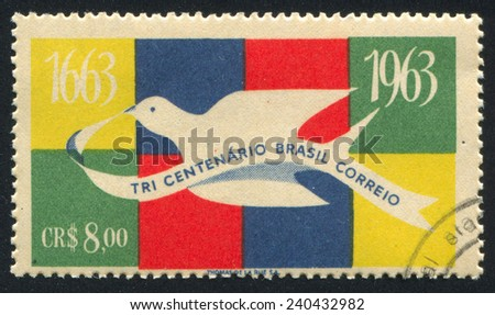 BRAZIL - CIRCA 1963: stamp printed by Brazil, shows  Carrier Pigeon, circa 1963 - stock photo