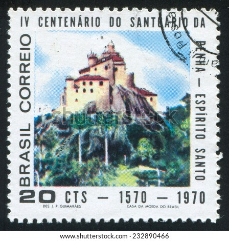 BRAZIL - CIRCA 1970: stamp printed by Brazil, shows  Church of Penha, circa 1970 - stock photo