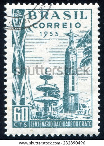 BRAZIL - CIRCA 1953: stamp printed by Brazil, shows  Clock Tower Crato, circa 1953 - stock photo