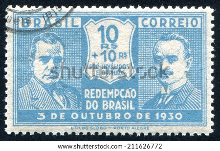 BRAZIL - CIRCA 1930: stamp printed by Brazil, shows  Getulio Vargas and Joao Pessoa, circa 1930