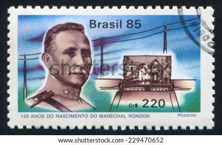 BRAZIL - CIRCA 1985: stamp printed by Brazil, shows  Marshal Rondon, circa 1985 - stock photo