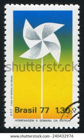 BRAZIL - CIRCA 1977: stamp printed by Brazil, shows  Pinwheel, circa 1977 - stock photo