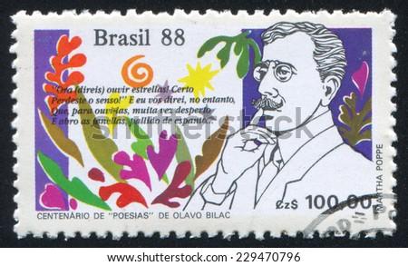 BRAZIL - CIRCA 1988: stamp printed by Brazil, shows  Poesias by Olavo Bilac, circa 1988 - stock photo