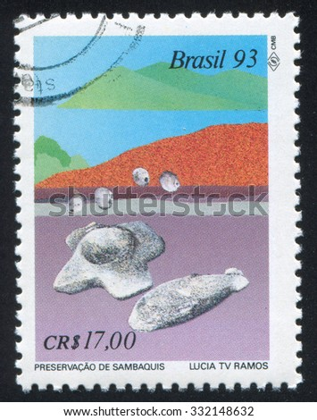 BRAZIL - CIRCA 1993: stamp printed by Brazil, shows  Preservation of Sambaquis Archaelogical Sites, circa 1993 - stock photo