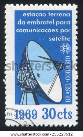 BRAZIL - CIRCA 1969: stamp printed by Brazil, shows  Radar Antenna, circa 1969 - stock photo