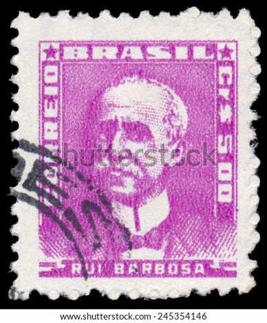BRAZIL - CIRCA 1954: stamp printed by Brazil, shows Ruy Barbosa, circa 1954 - stock photo