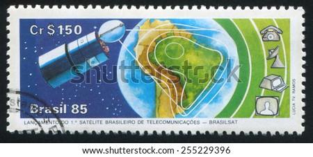 BRAZIL - CIRCA 1985: stamp printed by Brazil, shows  technologyn, circa 1985 - stock photo