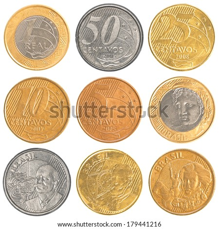 brazil circulating coins collection set isolated on white background - stock photo