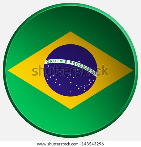brazil 3d round button - stock photo