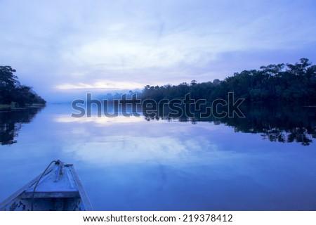 Brazil, Dawn at the Amazon Rain forest - stock photo