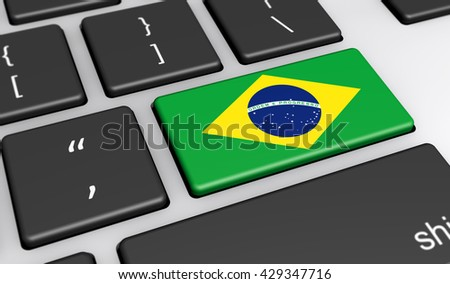 Brazil digitalization and use of digital technologies concept with the Brazilian flag on a computer key 3d illustration.