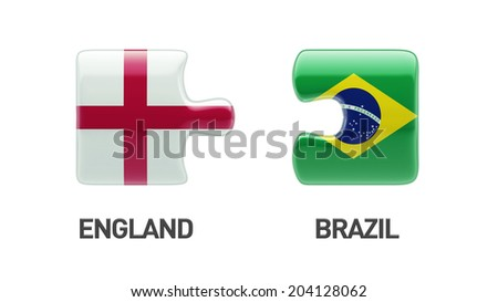 Brazil England High Resolution Puzzle Concept - stock photo