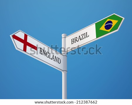 Brazil England High Resolution Sign Flags Concept - stock photo