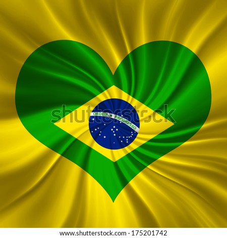 brazil flag and heart background - stock photo