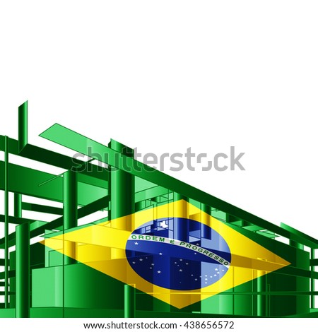 Brazil flag, architecture and white background-3D illustration