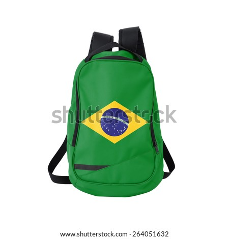 Brazil flag backpack isolated on white background. Back to school concept. Education and study abroad. Travel and tourism in Brazil - stock photo