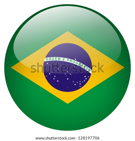 Brazil flag button - stock photo
