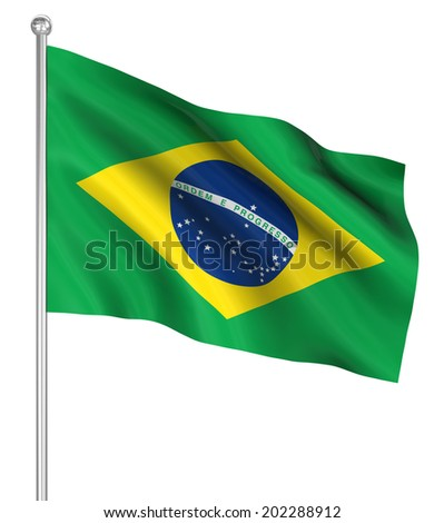 Brazil flag , computer generated image. 3d render. - stock photo