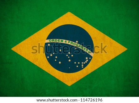 Brazil flag drawing ,grunge and retro flag series - stock photo