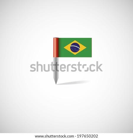 brazil flag illustration - stock photo