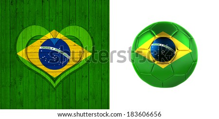 brazil flag map soccer ball heart and wood background  - stock photo