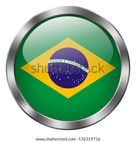 brazil flag metal button - stock photo