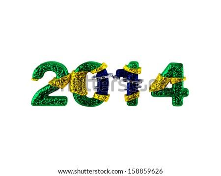 brazil flag, new year, white background  - stock photo