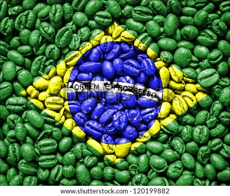 Brazil Flag on coffee seeds - stock photo