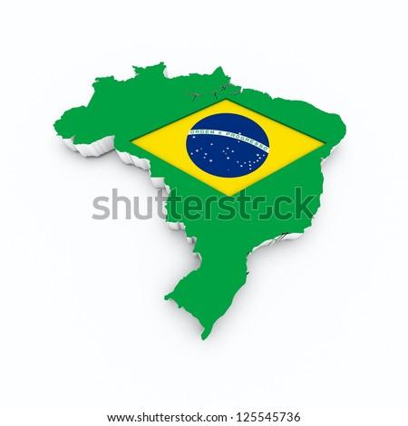 brazil flag on 3d map - stock photo