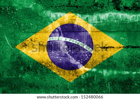Brazil flag on old grunge wall background - stock photo