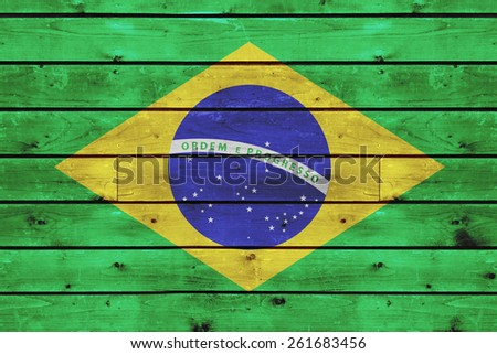 brazil flag on old wood texture background