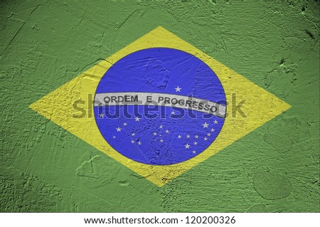 Brazil flag on wall background