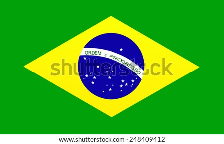 brazil flag over green background