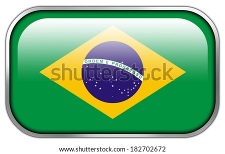 Brazil Flag rectangle glossy button - stock photo