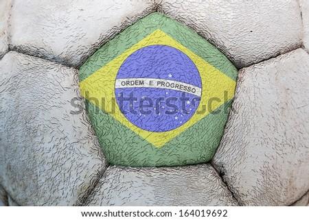 brazil flag soccer - stock photo