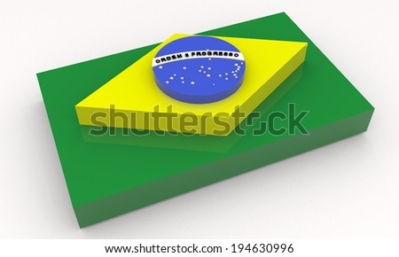 Brazil flag step render 3d