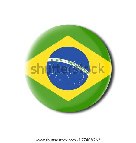 Brazil flag tridimensional spherical badge - stock photo