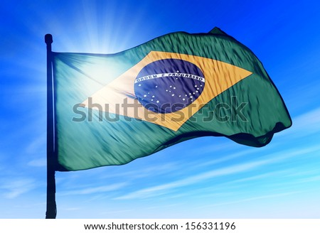 Brazil flag waving on the wind - stock photo