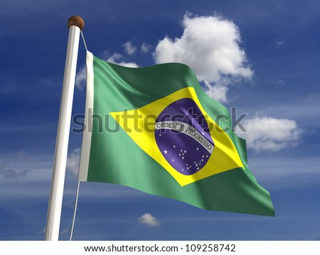 Brazil flag (with clipping path) - stock photo