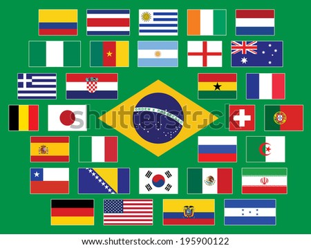 Brazil flags. Countries participating in a championship.